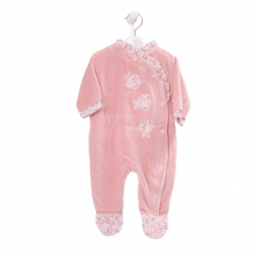 AV2402  Girls  Dusty Pink Velour Sleepsuit